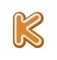 letter k gingerbread peppermint honey-cake font vector image