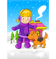 Little Girl With Her Dog vector image