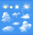 sun and clouds set vector image