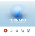 Tornado icon in different style vector image