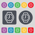 watches icon sign A set of 12 colored buttons Flat vector image