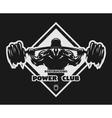 Bodybuilder with a barbell emblem vector image