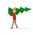 cartoon man carries a Christmas tree vector image