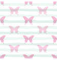 cute seamless pattern with butterflies on stripped vector image vector image