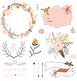 Romantic hand drawn collection of laurels wreaths vector image