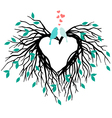 heart wedding tree with birds vector image vector image