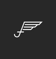 Uppercase letter f logo with wings monogram emblem vector image vector image