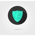green shield icon on black circle with shadow vector image