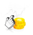 Cursor with the coins vector image