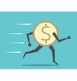 Dollar coin running vector image