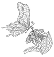 Hand drawn zentangle tribal flying Butterfly and vector image