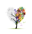 Heart shape tree pencil drawing for your design vector image