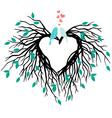 Heart wedding tree with birds vector image