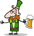 Leprechaun with beer cartoon vector image
