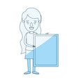 blue silhouette shading caricature full body woman vector image