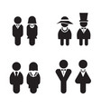 silhouette rest room wc toilet icons set vector image