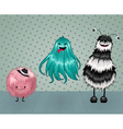 cute fluffy monsters vector image vector image