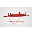 Kuala Lumpur skyline in red vector image