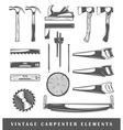 Vintage carpenter elements vector image