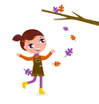 girl playing with leaves vector image