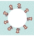 Set of funny brown monkey boys and girls on blue vector image