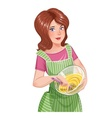 Beautiful girl cooking food vector image