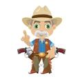 Wise grandpa cartoon character in Wild West vector image