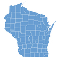 State Map of Wisconsin by counties vector image
