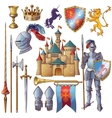 Knight Decorative Icons Set vector image