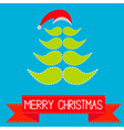 Christmas tree made from mustaches and Santa hat vector image