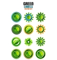 Green leaf labels eco friendly badges vector image