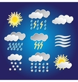 Set of weather funny icons with shadows vector image