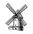 windmill isolated on white background hand drawn vector image