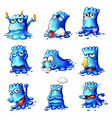 Nine blue monsters vector image vector image