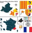 Map of Provence Alpes Cote dAzur vector image
