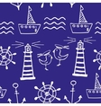 Sea seamless pattern Hand-drawn Doodles vector image vector image