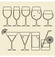 Alcohol Wine Beer Cocktail and Water Glasses vector image