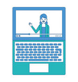 influencer waving hand video content on screen vector image