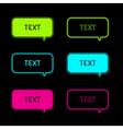 Set of six neon speech bubbles Black background vector image