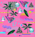 synth wave tropical seamless pattern futuristic vector image