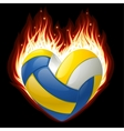 volleyball on fire in the shape of heart vector image