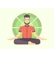 Man meditates in the Lotus position vector image