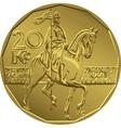 gold Money twenty czech crones coin vector image vector image