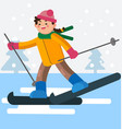 girl skiing on a flat ground vector image