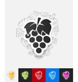 grapes paper sticker with hand drawn elements vector image