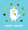 happy easter greeting card cat holding yellow vector image