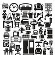 Home furniture and appliances icons vector image