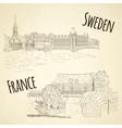 set of city sketching on vintage background vector image
