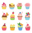 vanilla muffins and cupcakes with chocolate vector image