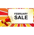 Megaphone with FEBRUARY SALE announcement Flat vector image